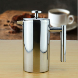Double wall Stainless Steel Coffee Plunger French Press Tea Maker Cafetiere Permanent Coffee Filter Baskets Espresso Maker
