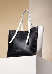 Large black and white tote bag