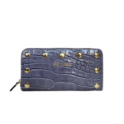 Grey Croc-Embossed Leather Wallet Pop Bag USA