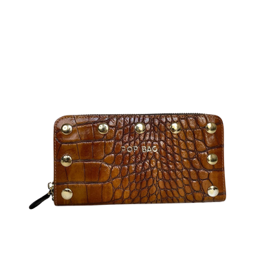 Cognac Croc-Embossed Leather Wallet Pop Bag USA