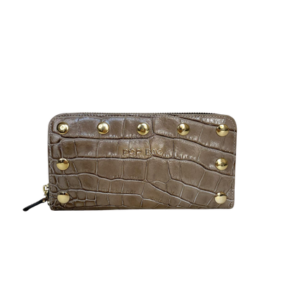 Natural sand Croc-Embossed Leather Wallet Pop Bag USA