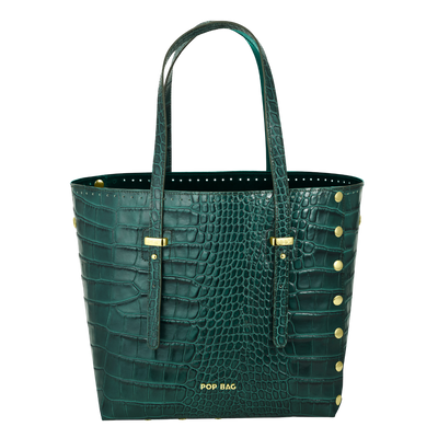 Croc-Embossed Leather Tote Bag POP BAG USA
