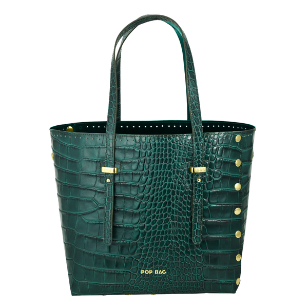 Ruth Croc-Embossed Leather - Pop Bag USA