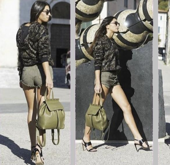 POP Leather Backpack - Khaki - Pop Bag USA