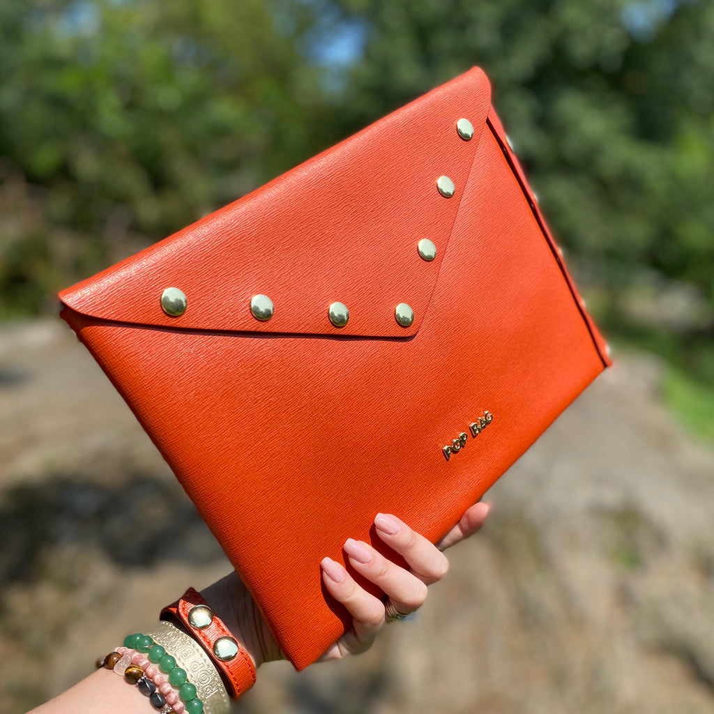 Coral Orange Envelope Clutch - Pop Bag USA