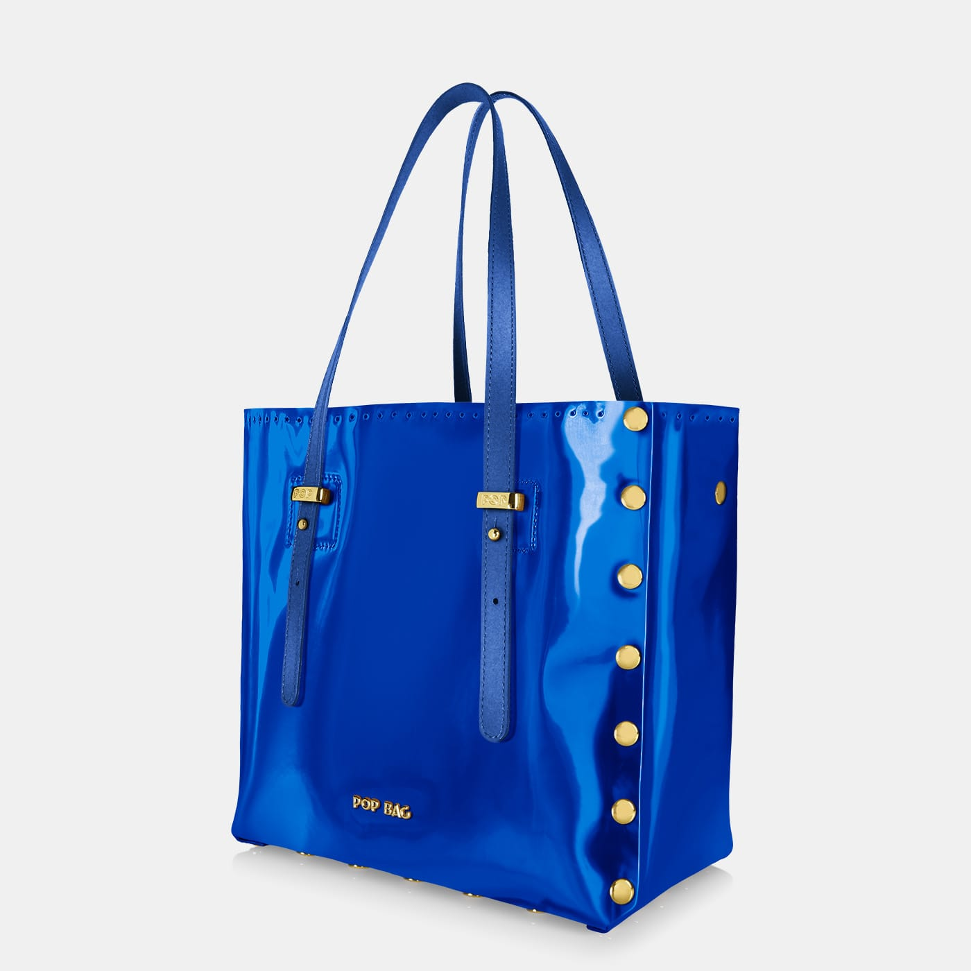 Pop Aurora Bag - Electric Blue Iridescent - Medium - Side View