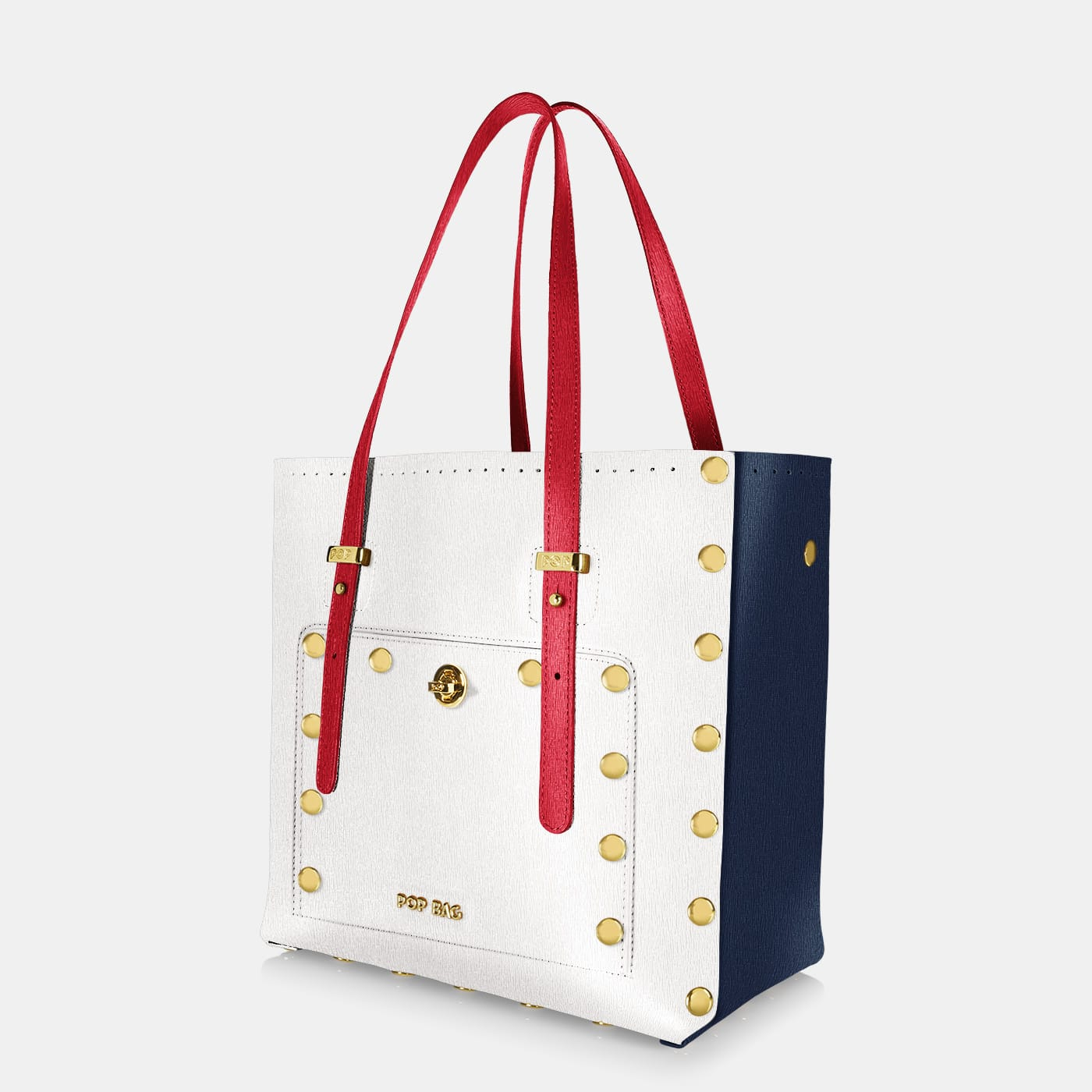 Pop Sailor Bag - White - Dark Blue - Red - Medium - Side View