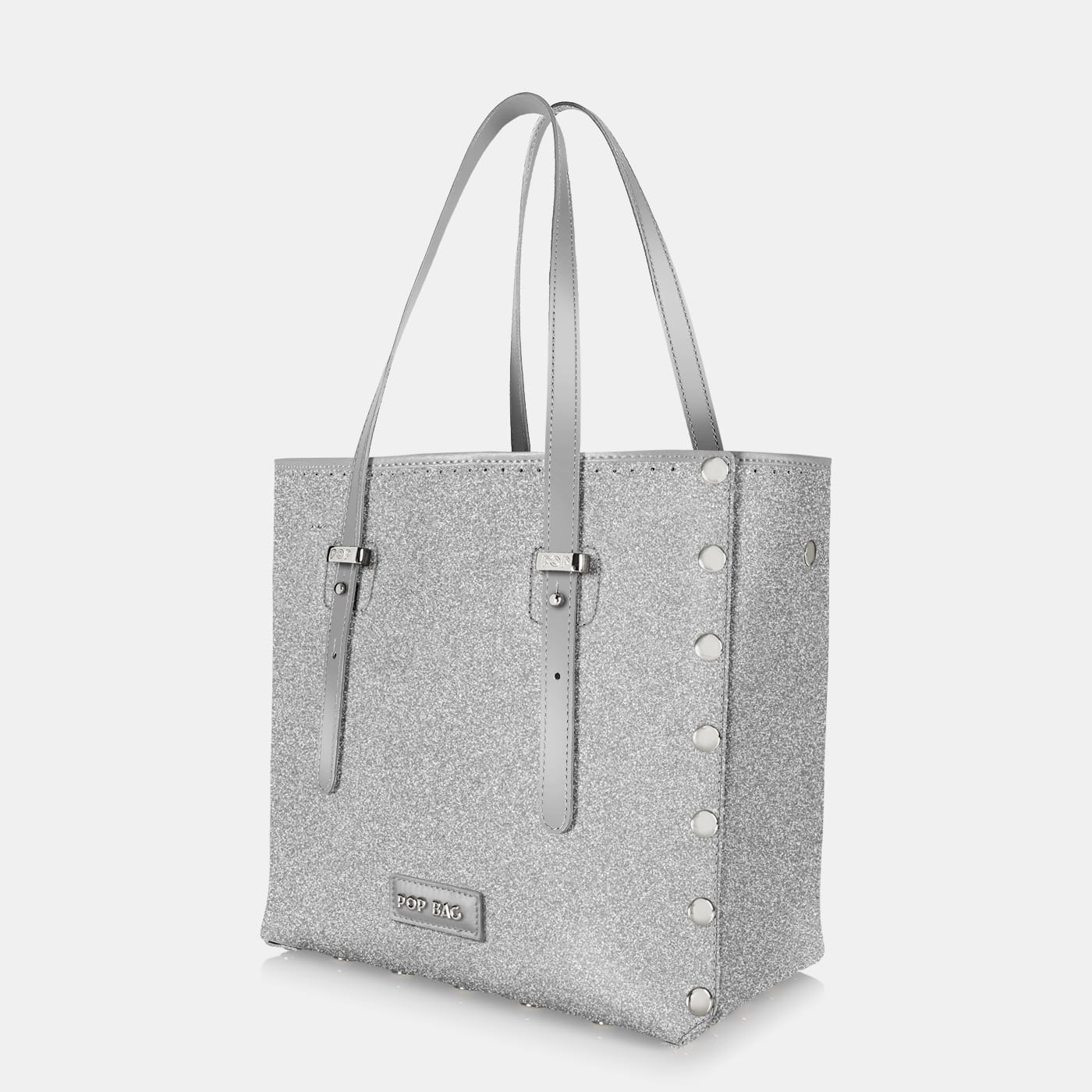 Pop Stardust Bag - Silver Glitter - Medium - Side View
