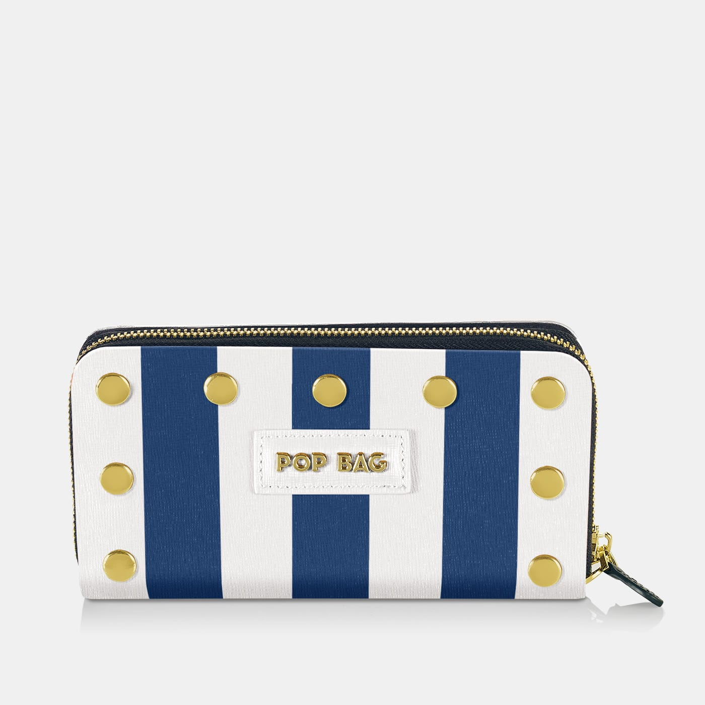 Pop Stripes Wallet Cover - Blue Stripes - On Wallet