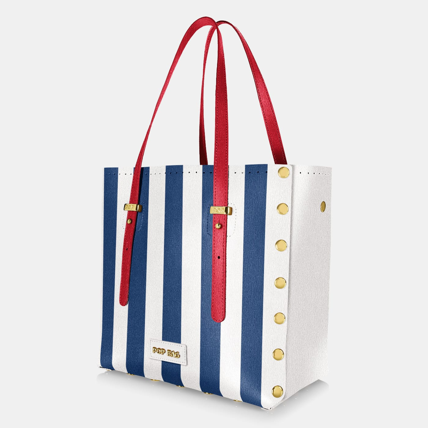 Pop Stripes Bag - Blue Stripes - Large - Side View