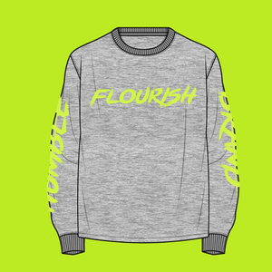 Humble Flourish Brand Long Sleeve Signature Tee (Stay Humble Green & Athletic Grey)