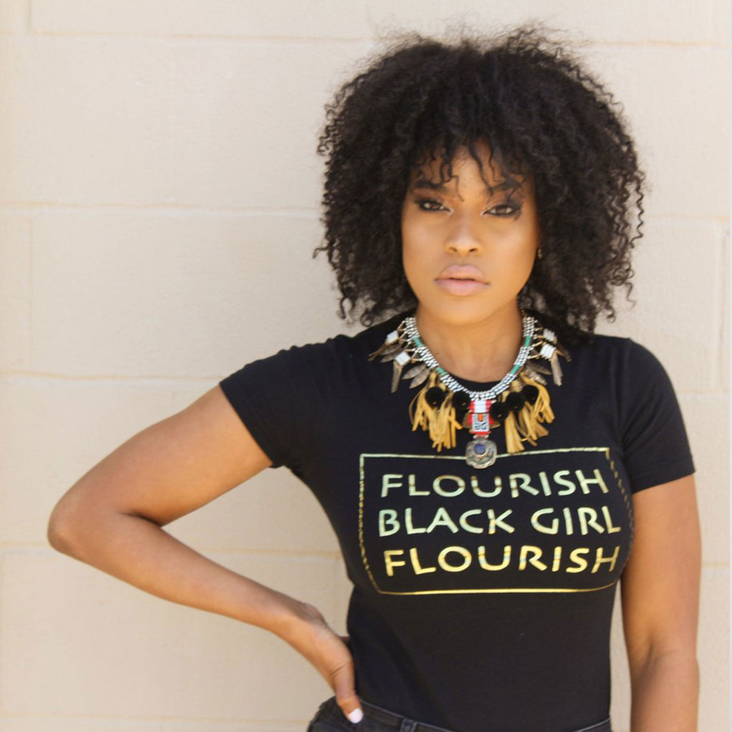 Flourish Black Girl Flourish Tee Black