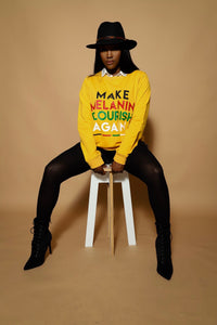 Make Melanin Flourish Again lightweight sweater (Yellow)