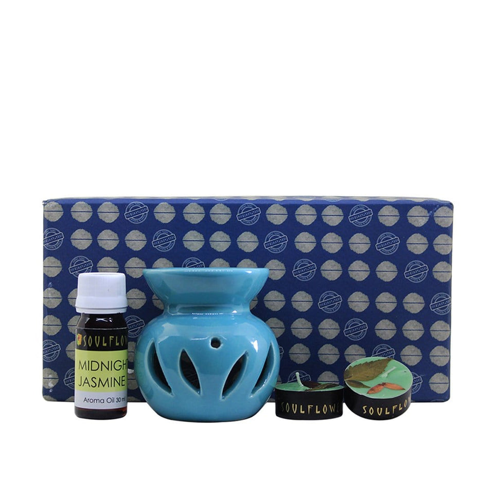SOULFLOWER ROUND CANDLE DIFFUSER BLUE - Jasmine