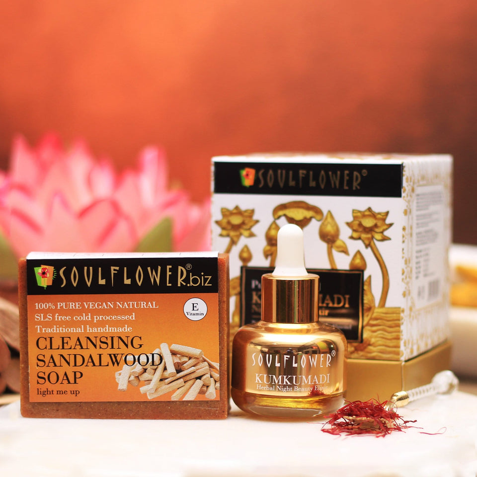 Best Elixir Night Beauty Kumkumadi Tailam Oil Online with Sandalwood Soap For Facial Skin Glow whitening