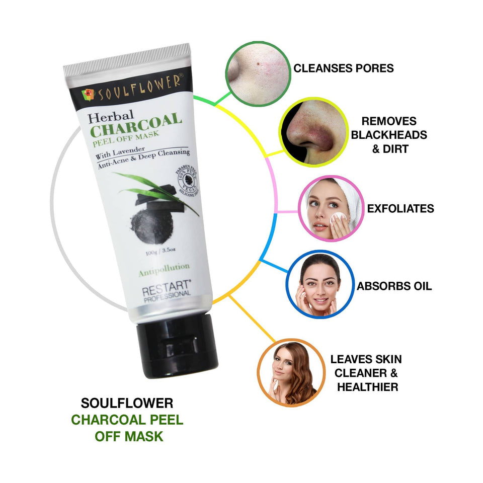 Charcoal Peel Off Mask For Instant Bright youthful detoxified Clear Skin controls Pollution, dirt, Aging, Blackheads & Acne, blemishes & Moisturizes skin