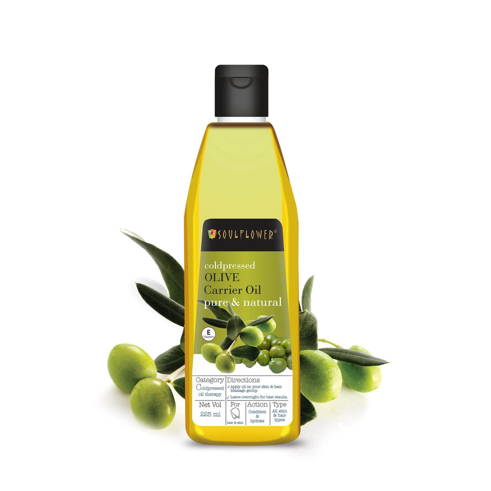Soulflower Olive Oil for Hair, 100% Pure Coldpressed, 225ml