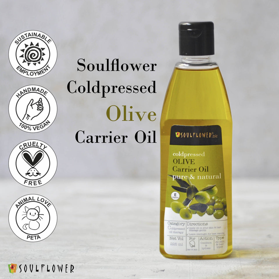 SOULFLOWER OLIVE OIL FOR HAIR, COLDPRESSED 100% PURE COLDPRESSED, 225ML