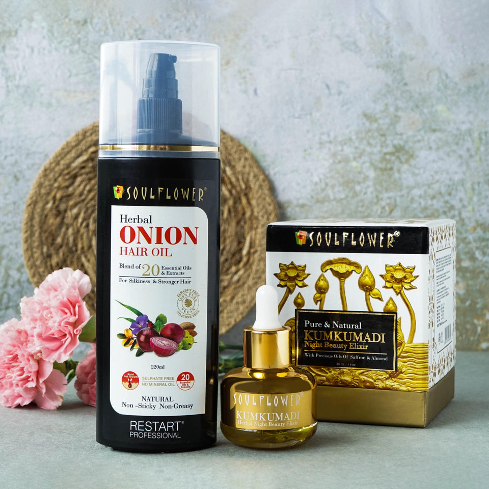 SOULFLOWER HERBAL ONION HAIR GROWTH OIL & HERBAL KUMKUMADI OIL MONTHLY ROUTINE