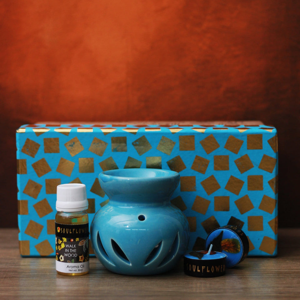SOULFLOWER ROUND CANDLE DIFFUSER BLUE - Walk In The Wood