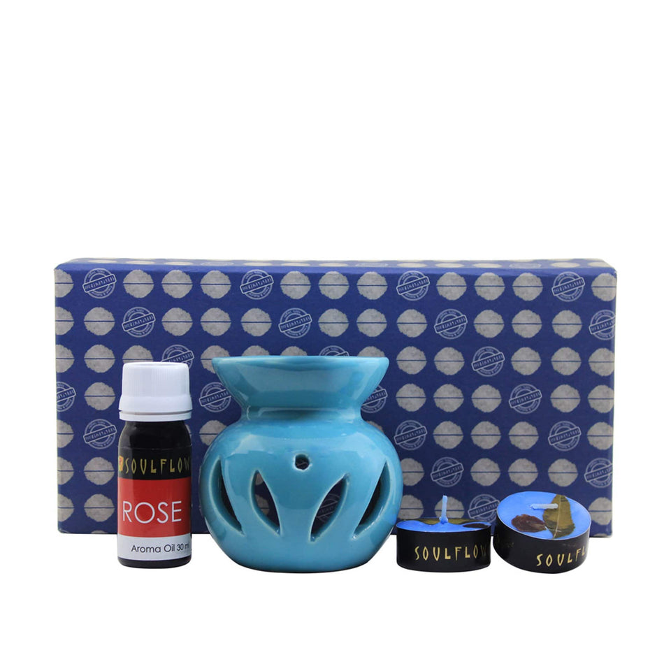 SOULFLOWER ROUND CANDLE DIFFUSER BLUE - ROSE