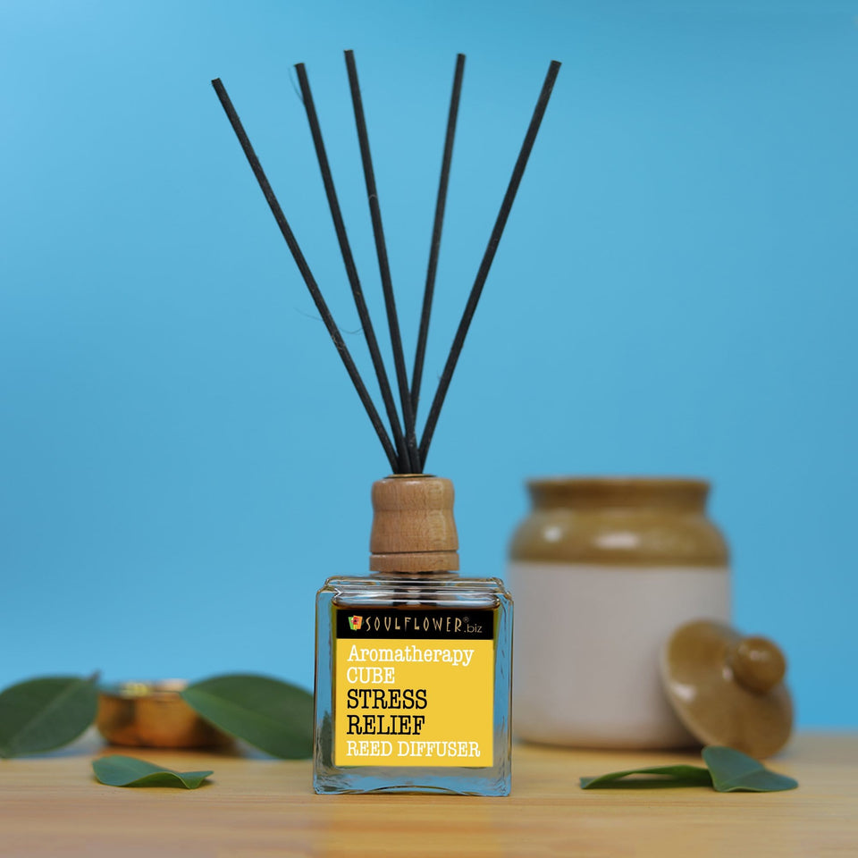 Reed Diffuser Online India - SOULFLOWER CUBE REED DIFFUSER- STRESS RELIEF