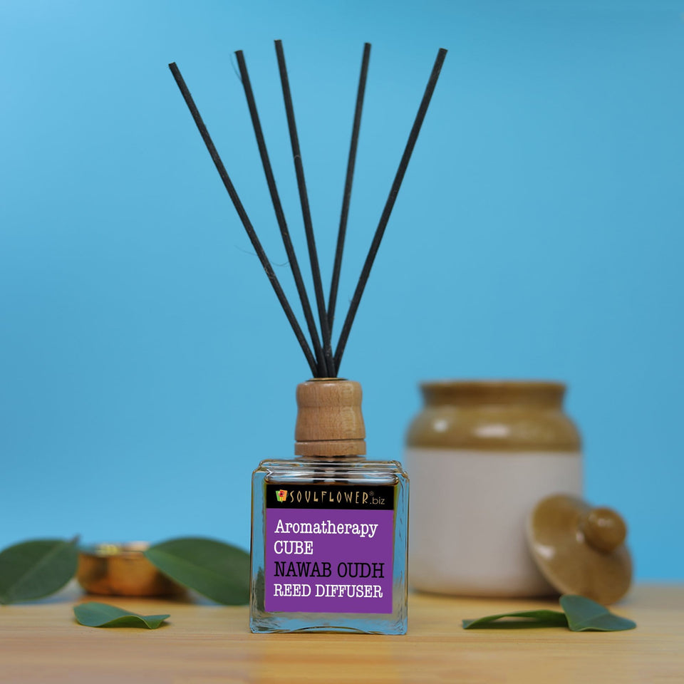 Reed Diffuser Online India - SOULFLOWER CUBE REED DIFFUSER- NAWAB OUDH