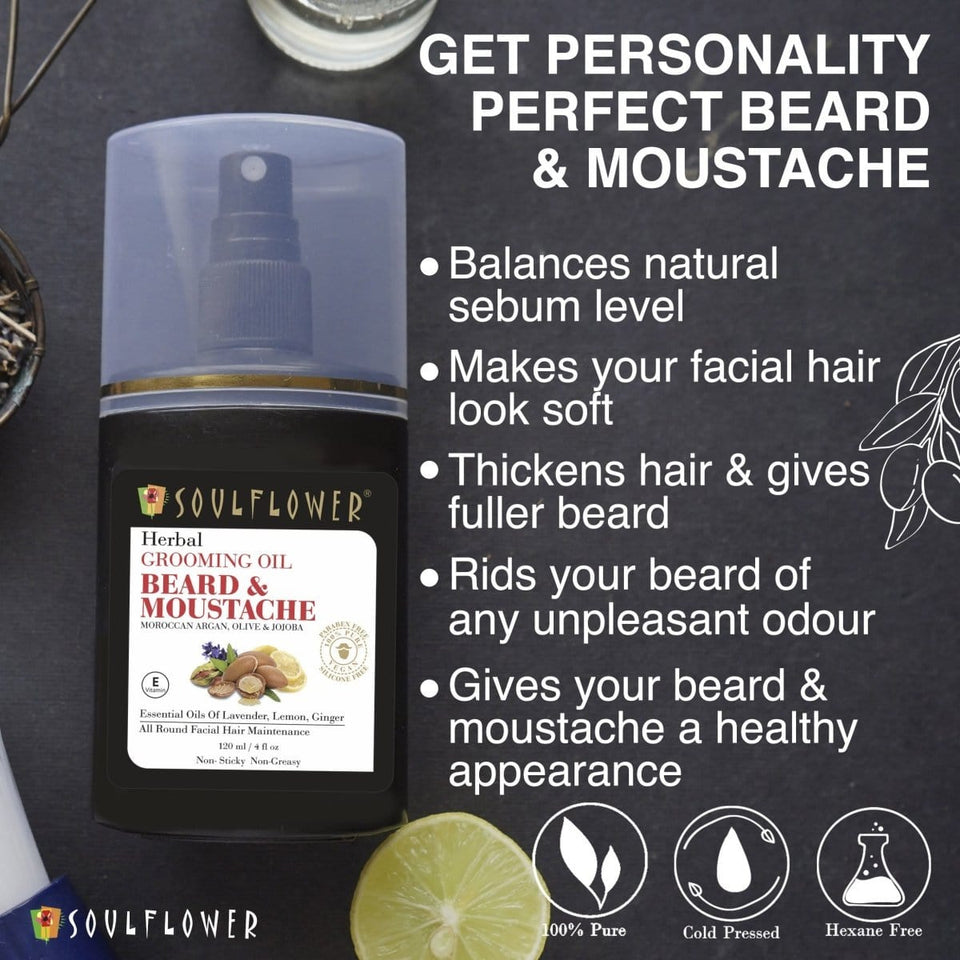 SOULFLOWER BEARD AND MOUSTACHE GROOMING OIL, 120ML - Soulflower
