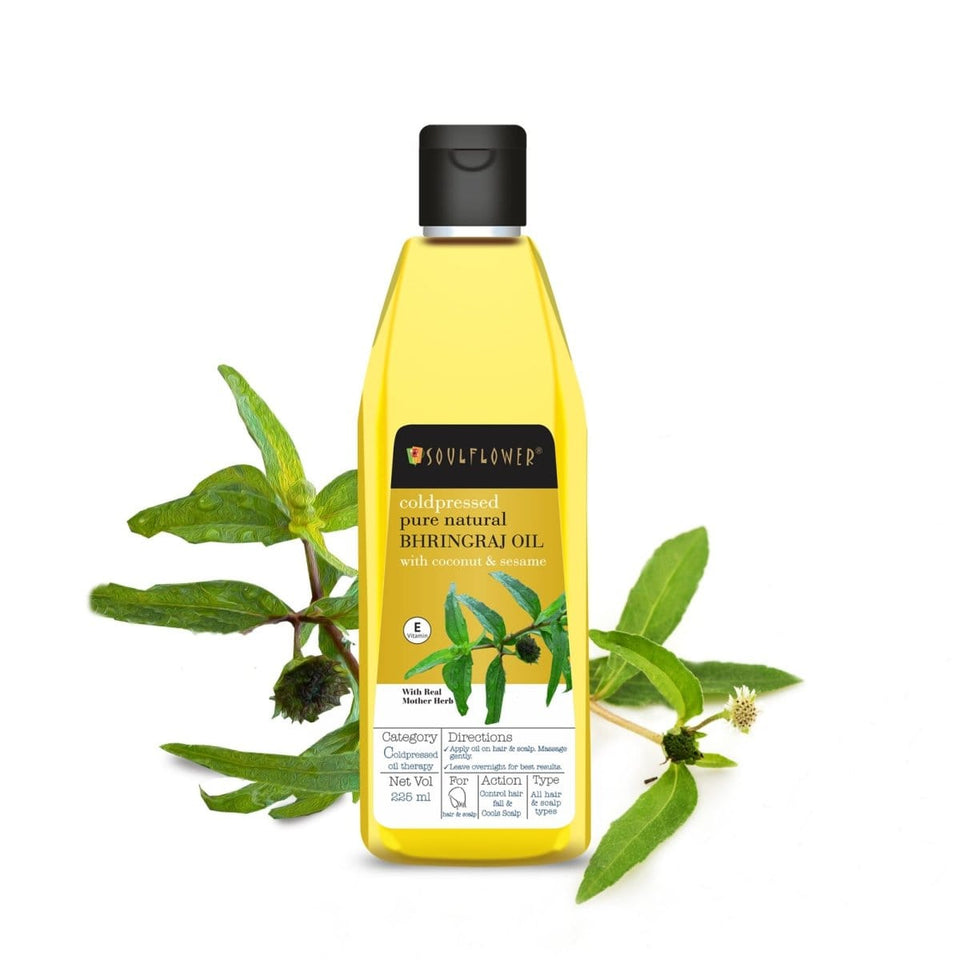SOULFLOWER BHRINGRAJ OIL FOR COOLING SCALP, 225ML - Soulflower