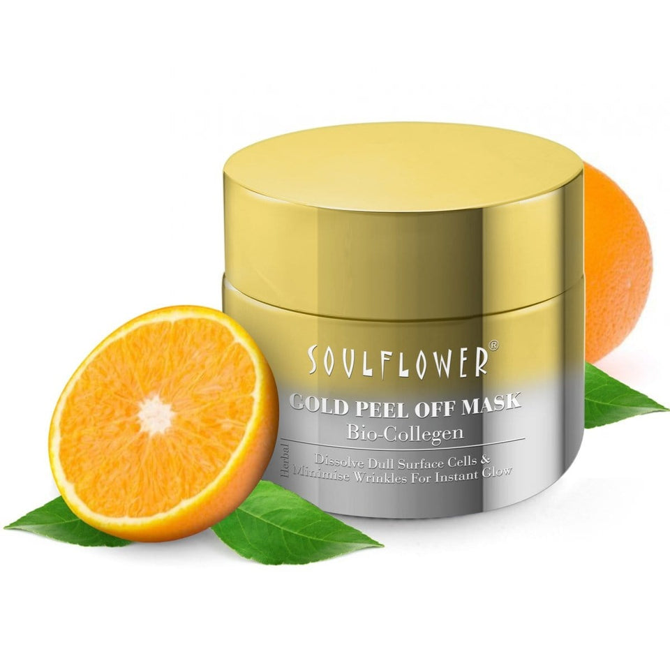 SOULFLOWER BIO-COLLAGEN GOLD PEEL-OFF MASK, 100g - Soulflower