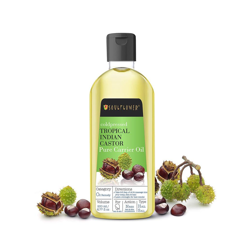 Soulflower Castor Oil for Hair, 100% Pure Coldpressed, 200ml (Special Edition) - Soulflower
