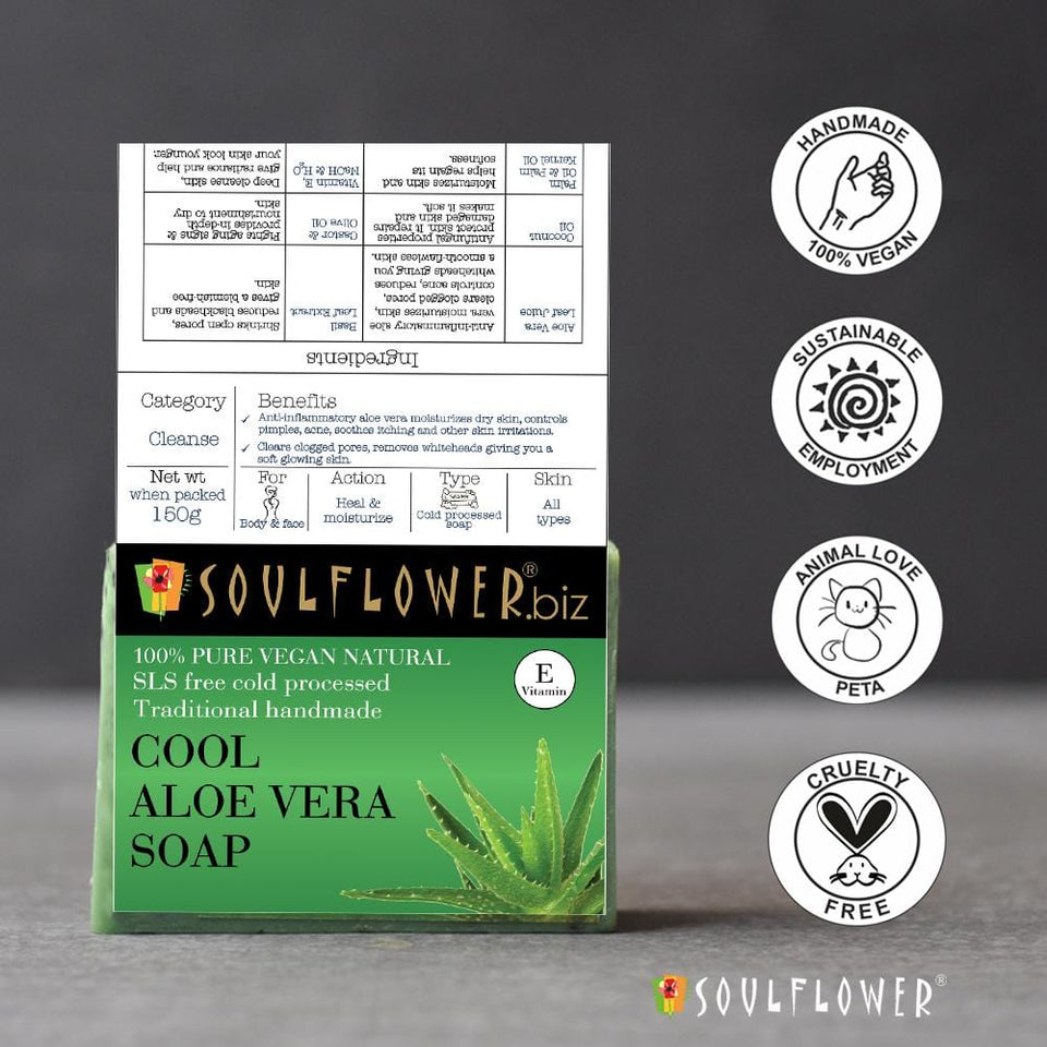 SOULFLOWER COOL ALOE VERA SOAP, 150g - Soulflower