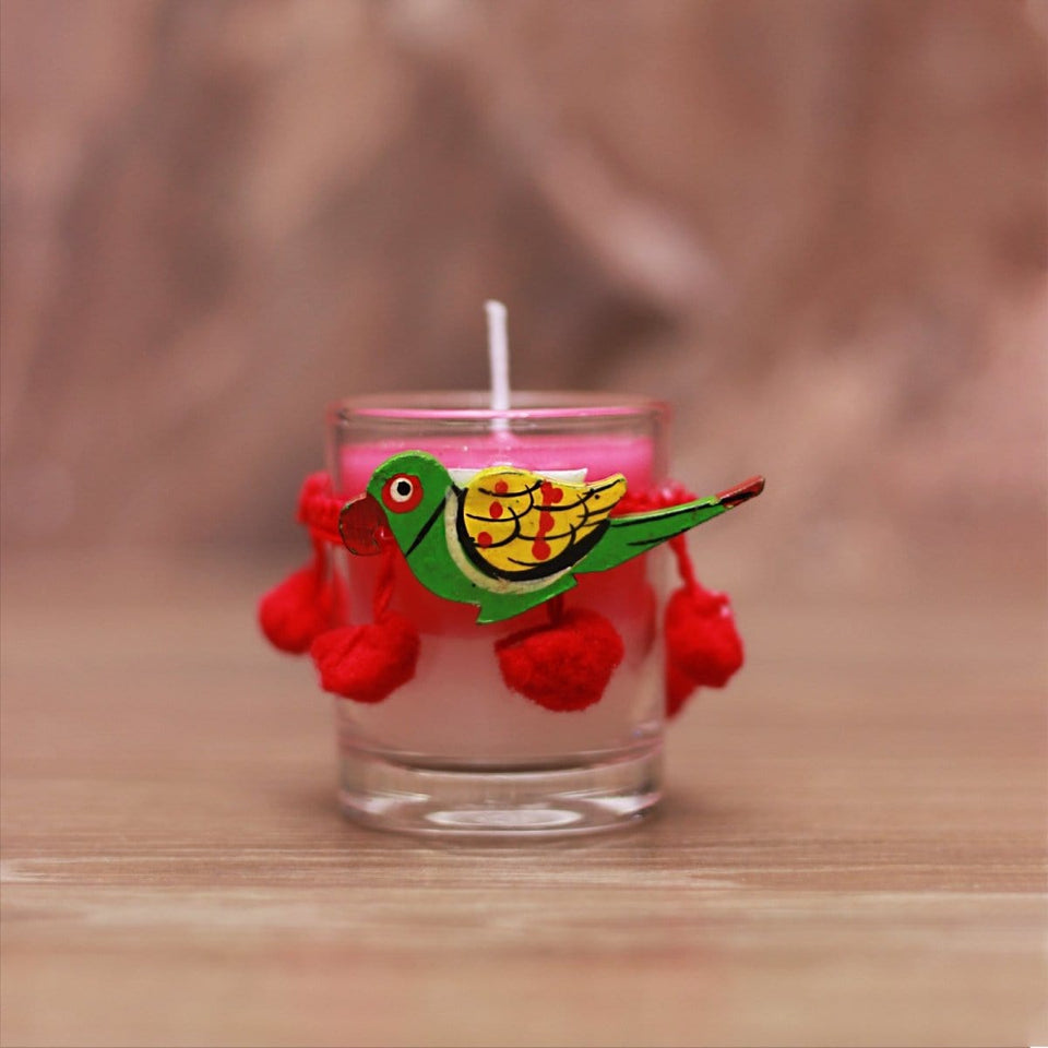 Soulflower Glass Votive Candle - Love is in the Air - Soulflower