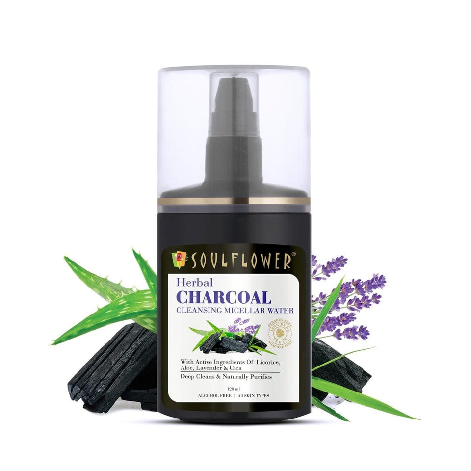 Soulflower Herbal Charcoal Cleansing Micellar Water, 120 ml - Soulflower