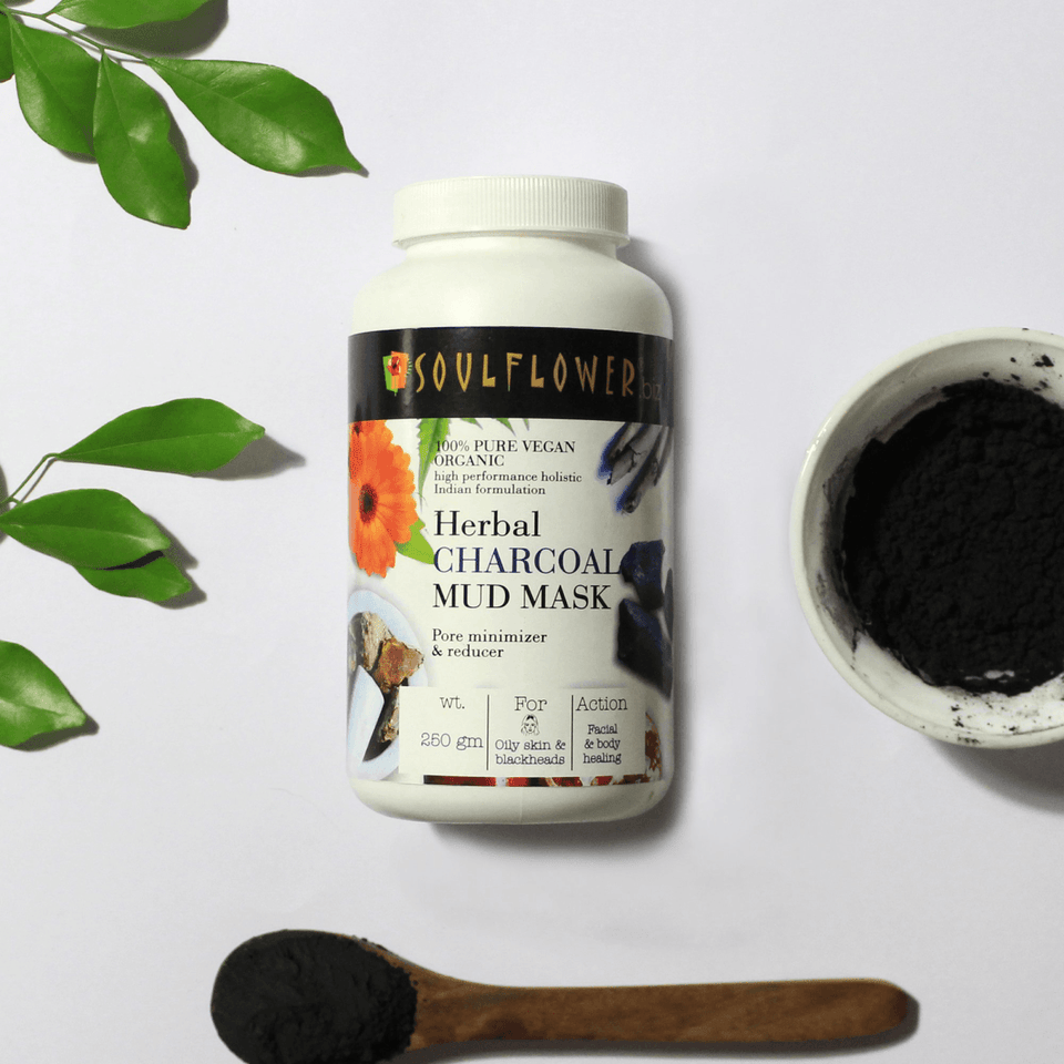 SOULFLOWER HERBAL CHARCOAL MUD MASK, 250g - Soulflower