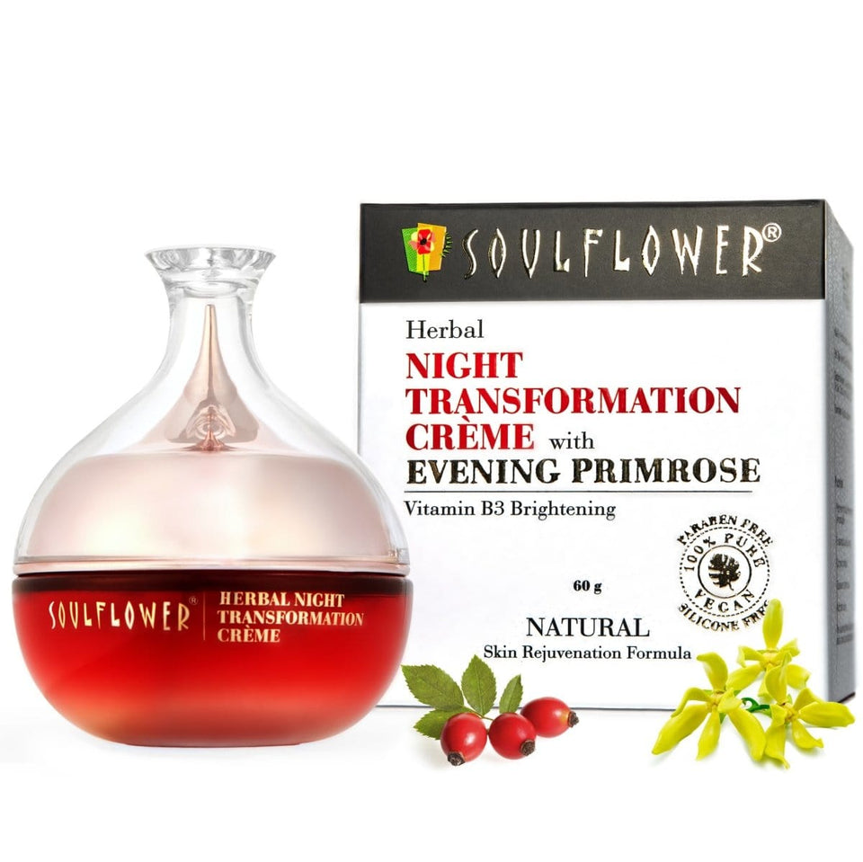 SOULFLOWER HERBAL NIGHT TRANSFORMATION CRÈME WITH EVENING PRIMROSE , 60g - Soulflower