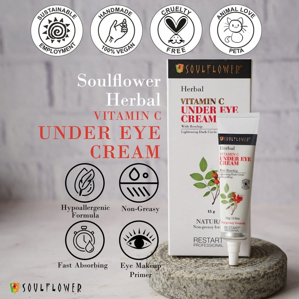 Soulflower Herbal Vitamin C Under Eye Cream with Rosehip- Lightening Dark Circle & De-puffing, 15g - Soulflower