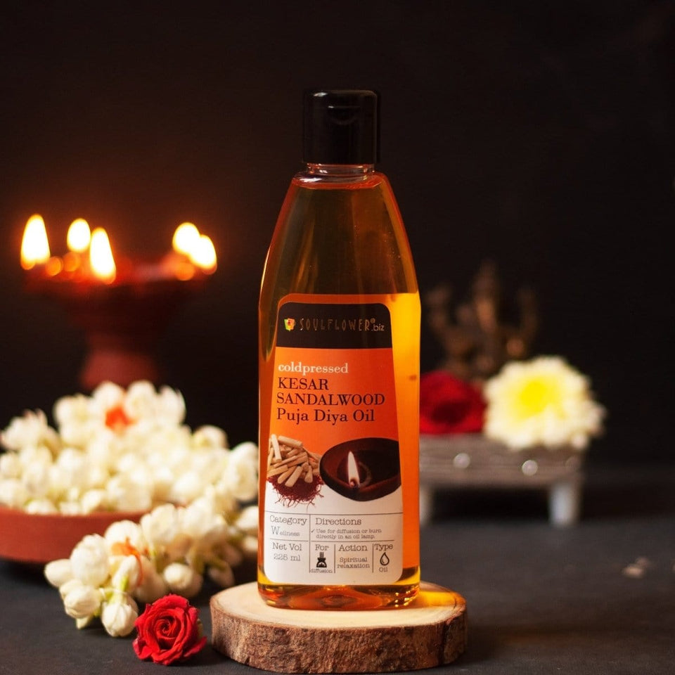 SOULFLOWER KESAR SANDALWOOD PUJA OIL, 225ML - Soulflower