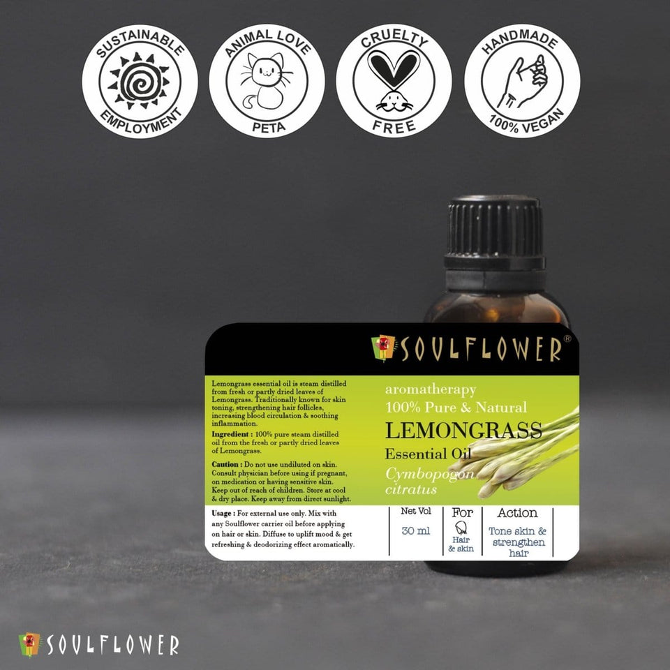 SOULFLOWER LEMONGRASS ESSENTIAL OIL, 30ML - Soulflower