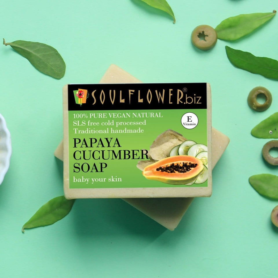 """SOULFLOWER PAPAYA CUCUMBER SOAP, 150g """