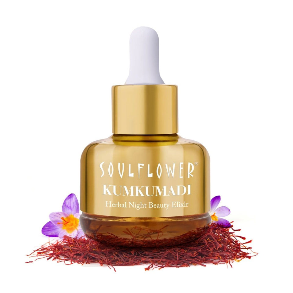 Soulflower Pure & Natural KUMKUMADI Night Beauty Elixir With Precious Oils of Saffron & Almond, 30ML(Special Edition) - Soulflower