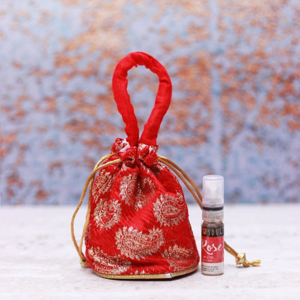 SOULFLOWER ROSE AROMA POUCH WITH BOTTLE - Soulflower