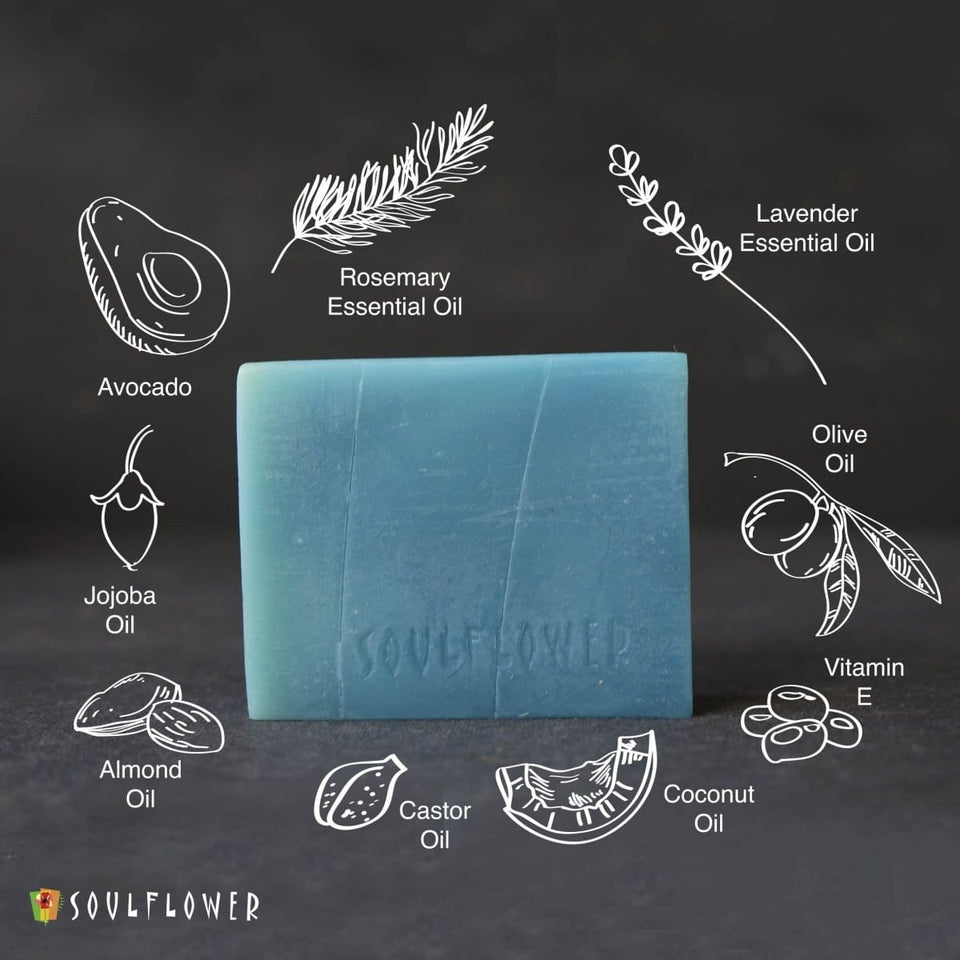 SOULFLOWER ROSEMARY LAVENDER HAIR CLEANSING BAR WITH JOJOBA OIL, 150g - Soulflower