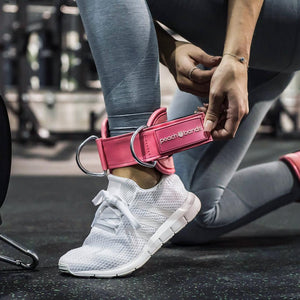 Cable Ankle Straps-Peach Bands Fitness for Glute Kickbacks