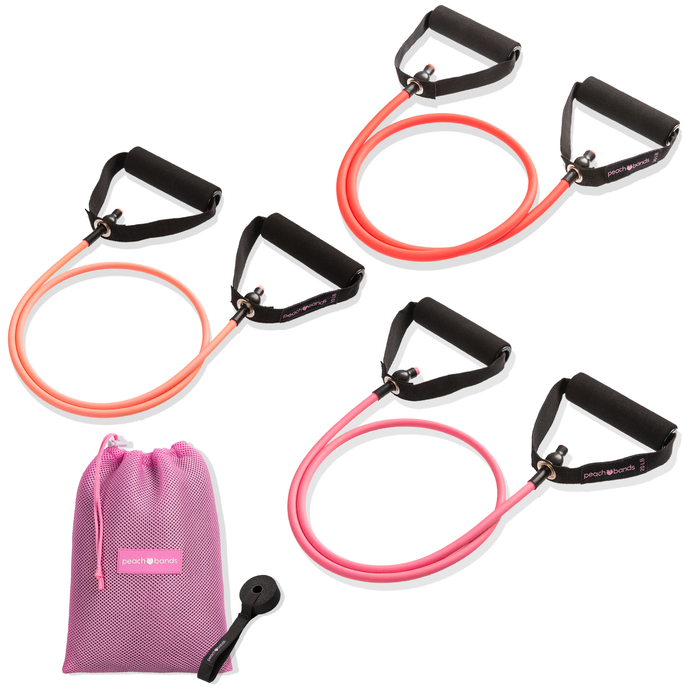 Tube Band Set-Peach Bands Fitness Long Resistance Bands with Handles with Door Anchor Pink