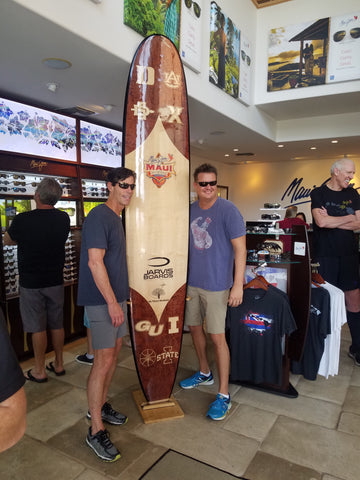 Wood surfboard Maui Invitational