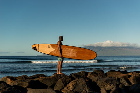 Wood surfboard Hawaii