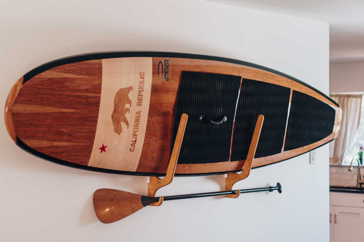 Wooden paddle board by Jarvis Boards