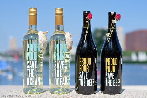 Proud Pour Bottles Of Wine with water in the background - Save The Oceans and Save The Bees - Connected Clothing Company Blog - 7 Eco-friendly Companies That Give Back To Our Planet