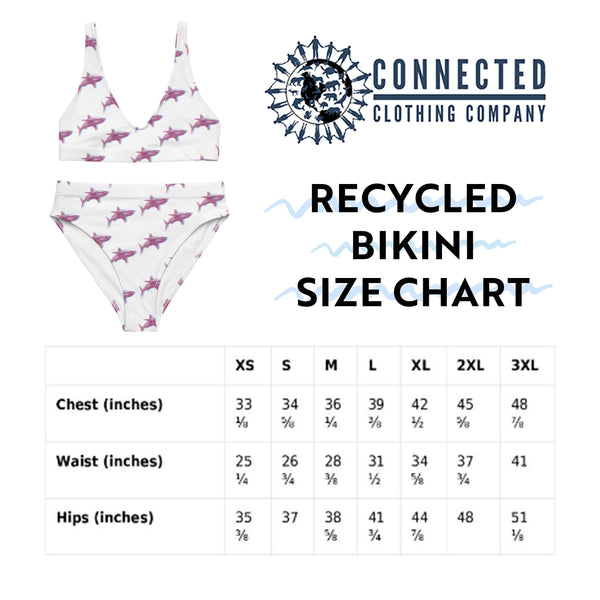 3D Shark Recycled Bikini Size Chart - 2 piece high waisted bottom bikini - Connected Clothing Company - Ethically and Sustainably Made Apparel - 10% of profits donated to ocean conservation